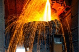 Smelting metal in a metallurgical plant.